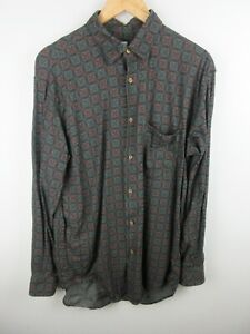 Sisley Mens Shirt Size L Long Sleeve Button Up Regular Fit Made in Italy Vintage