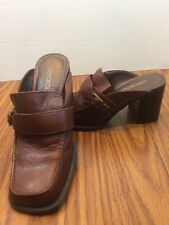 "Aerosoles Women's brown leather slip-on clogs Mules 3"" block heel size 6B"