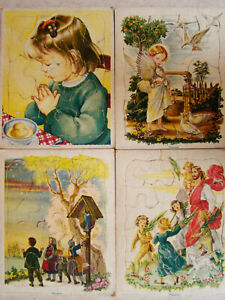 Vintage 1960 Playskool Golden Book Jigsaw Puzzles set of 4