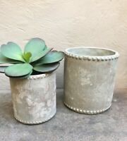 Rustic Cream Grey Plant Pot Cover Planter Vase Dotted Edge Large or Small Desley