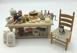 Dolls House Kitchen Table With Food And Cookware And Chair