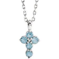"""Aquamarine Cross 16-18"""" Necklace In Platinum"""