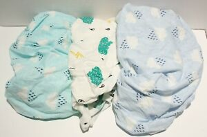 Onacosht Bassinet Fitted Sheet 100% Jersey Cotton Rectangle Shape 3pk