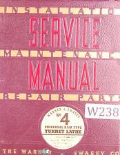 Warner Amp Swasey No 4 M 1320 Lot 31 Turret Lathe Service Manual Year 1941