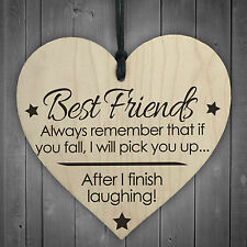 Best Friends Finish Fall Laughing Novelty Wooden Hanging Heart Friendship Plaque