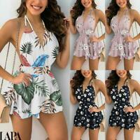 Women's Boho Floral Sexy Backless Mini Dress Ladies Summer Beach A-Line Sundress