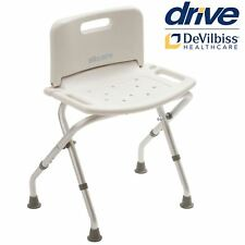 Drive Medical Lightweight Aluminium Folding Bath Bench Stool With Back 12487KDR