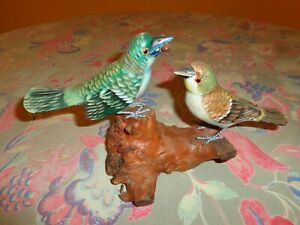 Colorful Resin Feeding Bird Grouping on Stand