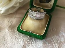 Antique Vintage Art Deco White Gold Band Ring Sapphire White Stones size 7 or O