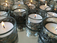 Silver Mercury or Clear Glass Tea Light Holder Antique Metal Decoration Weddings