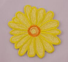Embroidered Yellow Glitter Retro Mod Daisy Flower Applique Jacket Patch Iron On