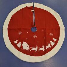 Quality Christmas Tree Skirt Red & White With Santa & Sleigh Fabric Tree Skirt