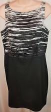 Women's Ann Taylor Sleeveless Shift Dress Black White Size 10
