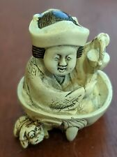Vintage Signed Double Netsuke, Tea Pourer w/Dragon Bottom