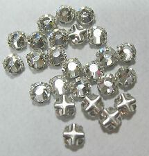 Preciosa Czech Rose Montees 3mm SS12 Silver Plate Clear Crystal 25 Beads