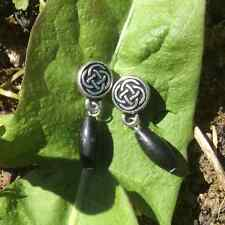 Kilkenny marble celtic stud earrings. Irish jewellery and gifts. Black gemstone