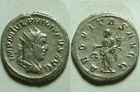 Rare ancient Roman silver coin Antoninianus Philip 244AD Antioch Aequitas scales