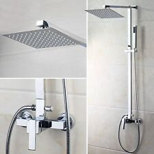 "Chrome Bath 8""Shower Faucet Set w/Hand Shower Wall Mount Shower Mixer Tap"