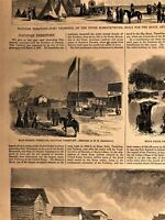 Scenes from Dakota Territory American Frontier Fort Thompson 1865 old print