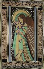 "Peace Angel Celtic Tapestry Cotton Bedspread 108"" x 88"" Twin Blue"