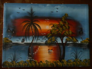 Souvenir Painting signed Reye ? Tropical Vacation Palm Trees Highwaymen Style