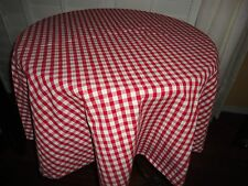 "TARGET RED & WHITE GINGHAM CHECKS SMALL ROUND TABLECLOTH 56"" 100% COTTON"