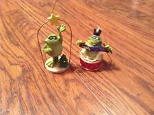 "Lot of 2 Doug Harris Frog Ornaments: ""Toadily Cool Yule"" & Frog with Tree"