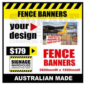 Custom Outdoor Fence Mesh Banner Sign Wrap - 3600mmW x 1500mmH Signage Warehouse