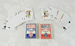 Set of 2 Hoyle Poker Playing Cards Red & Blue Plastic Coated Nevada Finish
