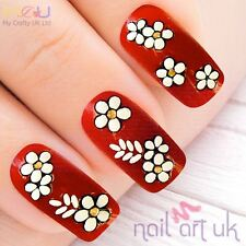 White Flower and Gold Rhinestone, WHite Leaf Nail Stickers, Decals,Art 01.02.001