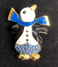 """penguin Brooch pin blue rhinestones 1.25""""""""x1.75"""" GIFT gift gold tone #1A"""