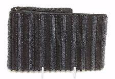 NWOT Bali Beaded Black and Gray Striped Clutch Wristlet Zip Top Makeup Bag