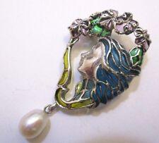 a Jour Enamel Brooch Stylish Lady Solid Silver Art Nouveau Style Plique