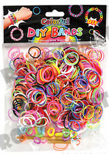 100Pk Colorful Diy Silicone Rubber Band Bracelet Set Rainbow Mixed Party Rm1335