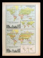 1879 Black Atlas Map - World - Animal Birds Plants Distribution Zoological Chart