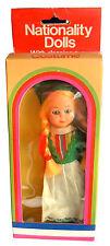 Vintage Early -Mid 1980s Boxed Nationality Irish Girl Doll, Ireland, sleepy eyes