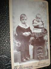 CDV Old Photograph child with ball by Herman of Camberwell London  c1890s