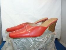 Great RED Leather Women's DANELLE Heels Mules Slides Shoe SIZE 7.5 M NEVER WORN