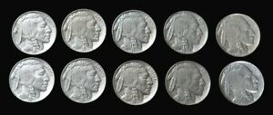 (10) 1936 UNITED STATES BUFFALO NICKEL COIN DEALER LOT AU & BETTER