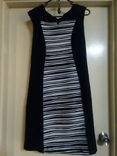 Liz Jordan Women's Size 10 Black Dress With White & Grey Stripes AU *RRP $199.99