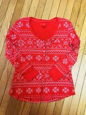 Victorias Secret XL Red Snowflake Thermal Waffle Weave Knit Top Euc Lkn