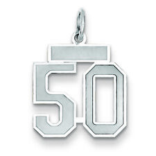 14k White Gold Small Satin Number 50 Charm