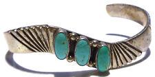 Silver Turquoise Estate Cuff Bracelet Vintage Randall Tom Heavy Navajo Sterling