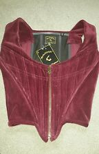 BNWT Vivienne Westwood Anglomania Womens Maroon Velvet Bustier/Corset Size XXS