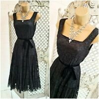 PHASE EIGHT 💋 UK 10 Stunning Gothic Black Lace Fit & Flare Dress ~Free P&P ~