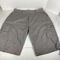 JLT Mens Cargo Shorts Gray Khaki Flat Front Pockets Cotton Size 40 Pockets
