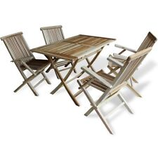 vidaXL Teak 5pc Outdoor Furniture Bistro Set Folding Garden Table Chairs Dining