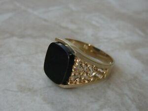 Siegelring 585 er Gold mit schwarzen Onyx Gr.63 (20,0 mm Ø) Signiert FH