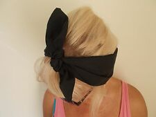 black head band hair bow wrap bunny ears rockabilly grunge land girl bunny 50s