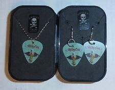 Wholesale Lot of 6 Motley Crue Guitar Pick Necklace/Earings/Collecto r Box New